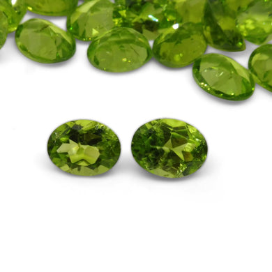 2 Stones - 2.86 ct Peridot 9x7mm Oval - Skyjems Wholesale Gemstones