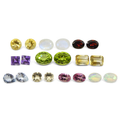 10 Pairs Faceted Gems for Manufacturing: Pink Tourmaline, Peridot, Aquamarine and more! Wholesale Lot - Skyjems Wholesale Gemstones