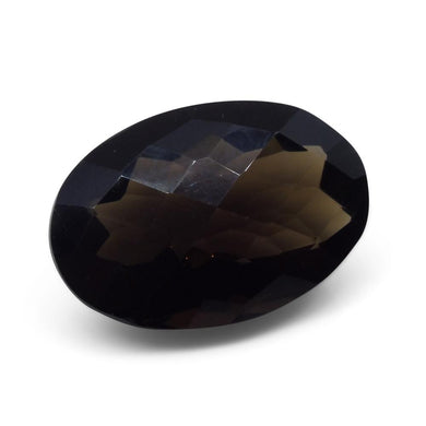 22.15ct Smokey Quartz Oval Checkerboard - Skyjems Wholesale Gemstones