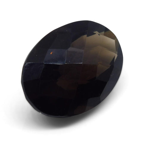 22.15ct Smokey Quartz Oval Checkerboard