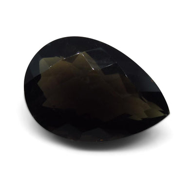 32.87ct Smokey Quartz Pear Checkerboard