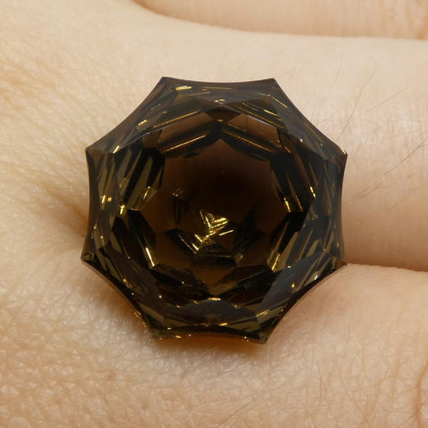 14.95ct Round Smoky Quartz Fantasy/Fancy Cut