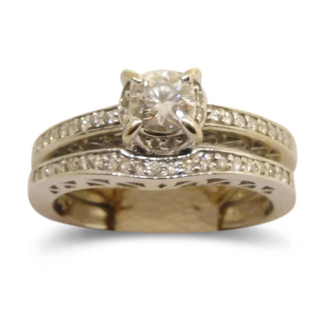 0.32 ct. Diamond Bridal Rings Set - 14kt White Gold - GS Laboratories Certified
