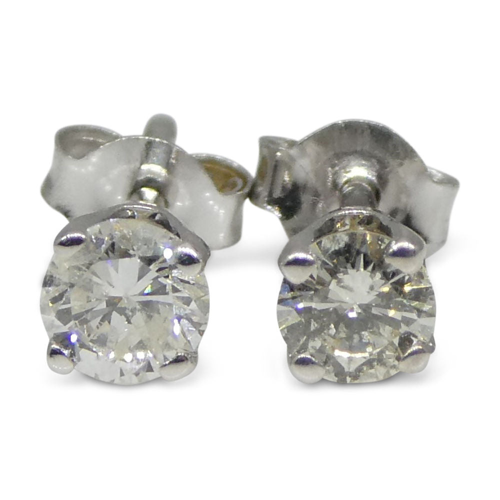 0.22 ct Round Diamond Stud Earrings  14kt White Gold