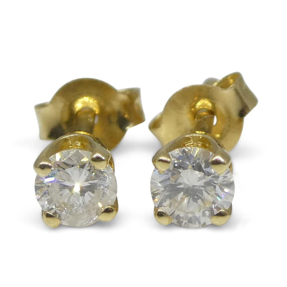 0.22 ct Round Diamond Stud Earrings 14kt Yellow Gold