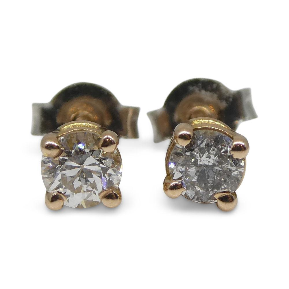 0.22 ct Round Diamond Stud Earrings 14kt Pink Gold
