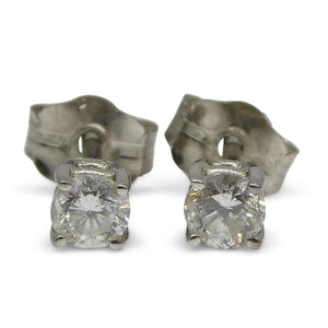 0.22 ct Round Diamond Stud Earrings 14kt White Gold - Skyjems Wholesale Gemstones