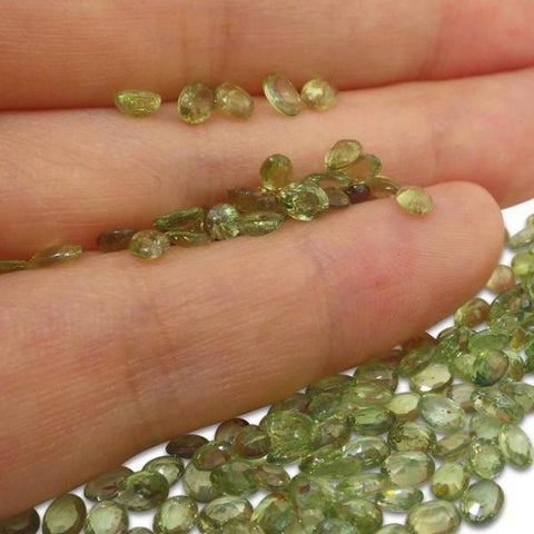 25 Stones - 5 ct Green Sapphire 4x3mm Oval