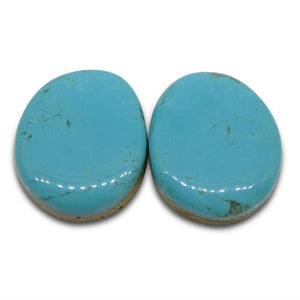 28.35 ct Oval Turquoise Pair - Skyjems Wholesale Gemstones