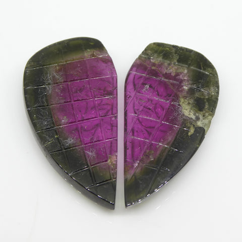 22ct Watermelon Tourmaline Flower Carving Matching Pair