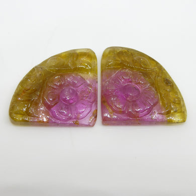 17.2ct Watermelon Tourmaline Flower Carving Matching Pair - Skyjems Wholesale Gemstones