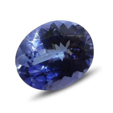 3.88 cts Oval Tanzanite IGI Certified with Inscription