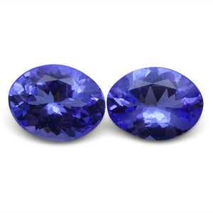 Tanzanite 3.17 cts 8.90x6.95x4.37 mm and 8.82x6.84x3.67 mm Oval Purplish Blue $630