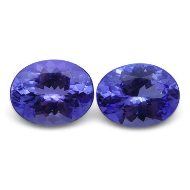 Tanzanite 3.73 cts 8.95x7.08x4.55 mm and 9.01x6.93x4.30 mm Oval Purplish Blue $750