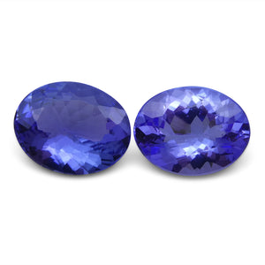 Tanzanite 3.67 cts 9.52x7.50x3.74 mm and 9.40x7.22x4.21 mm Oval Purplish Blue $730