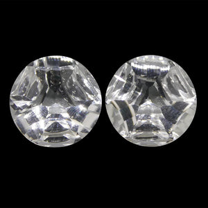 10.76ct Round White Quartz Fantasy/Fancy Cut Pair - Skyjems Wholesale Gemstones