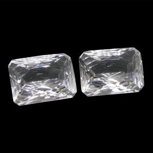 13.07ct Emerald Cut White Quartz Fantasy/Fancy Cut Pair - Skyjems Wholesale Gemstones