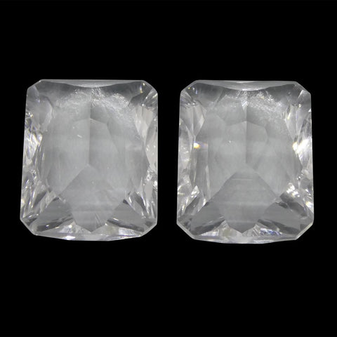 13.07ct Emerald Cut White Quartz Fantasy/Fancy Cut Pair