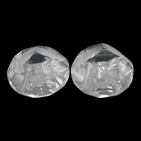 23.38ct Round White Quartz Fantasy/Fancy Cut Pair