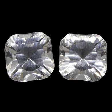 13.35ct Square White Quartz Fantasy/Fancy Cut Pair