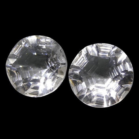 18.44ct Round White Quartz Fantasy/Fancy Cut Pair