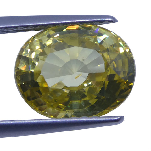 4.36 ct Yellow Zircon Oval Extremely Fine Quality