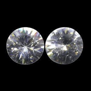 1.83 ct Round White/Clear Natural Zircon Pair - Skyjems Wholesale Gemstones