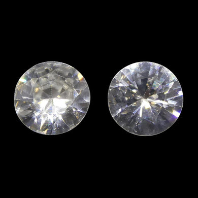 1.76 ct Round White/Clear Natural Zircon Pair - Skyjems Wholesale Gemstones