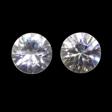 2.05 ct Round White/Clear Natural Zircon Pair - Skyjems Wholesale Gemstones