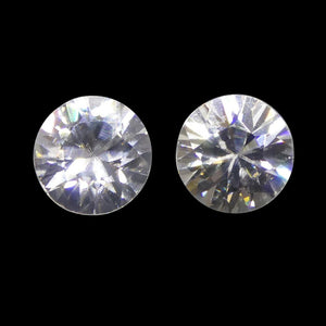 2.05 ct Round White/Clear Zircon Pair