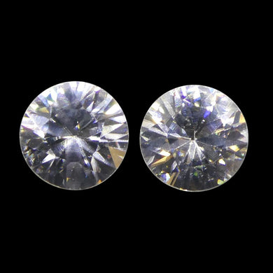 1.99 ct Round White/Clear Zircon Pair - Skyjems Wholesale Gemstones