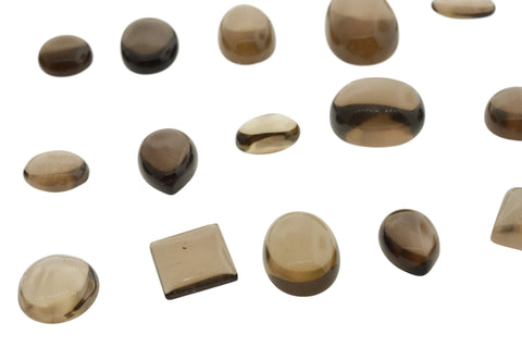 Smoky Quartz 250 cts 22st Cabochon/Cab MIX Oval, Round, Square, Pear WHOLESALE LOT
