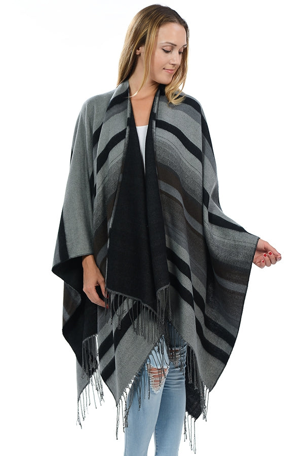 Chic Striped Poncho