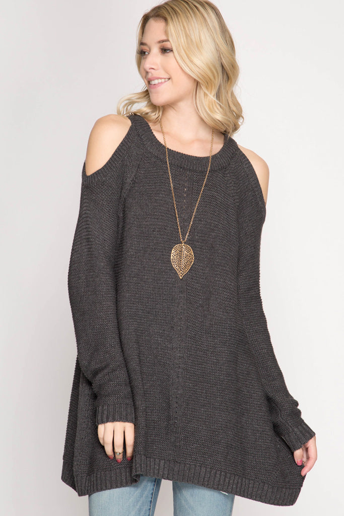 Cold Shoulder Grey Sweater