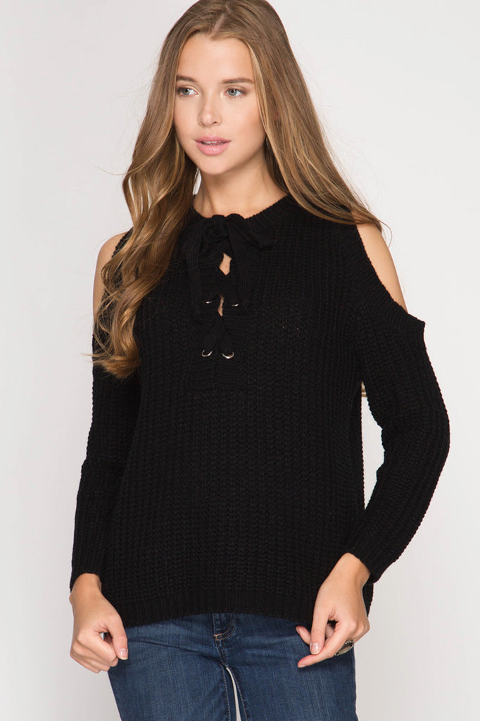 Cold Shoulder Lace-Up Sweater