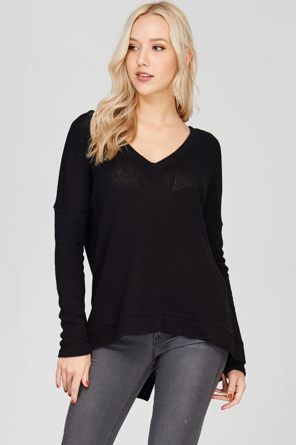 Black Lace-Up Back Sweater