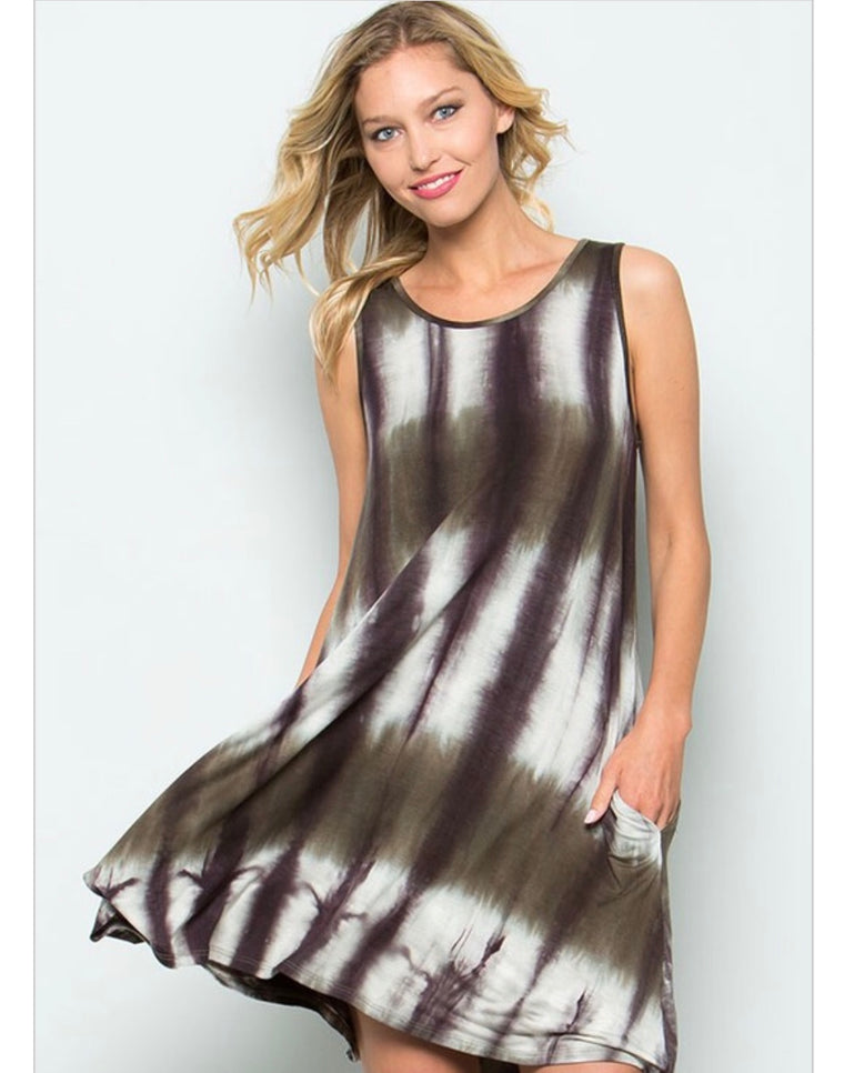 Sleeveless Tie-Dye Dress