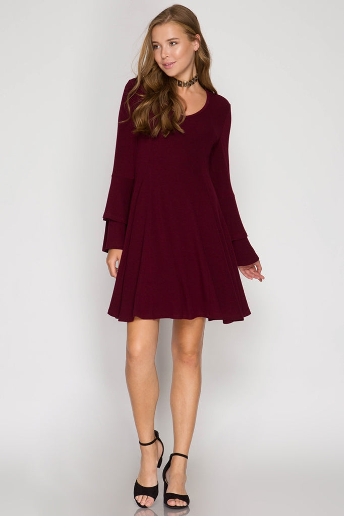 Red Wine Bell Sleeved Dress