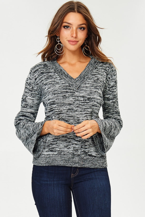 Two-Toned Bell Sleeve Sweater