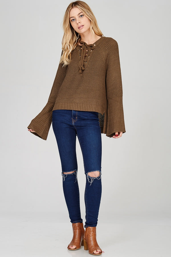 Lace-Up V Sweater