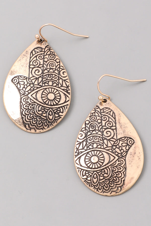 Hamsa Etched Earrings