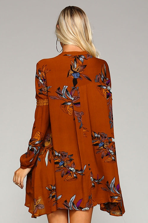 Burnt Orange Floral Tunic