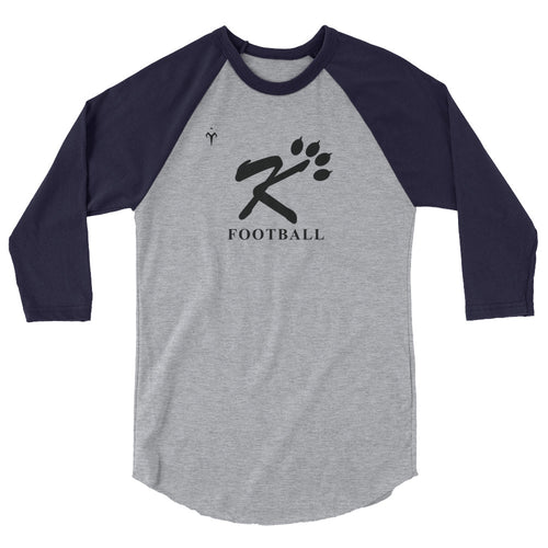 Kingman Football Black Logo 3/4 sleeve raglan shirt
