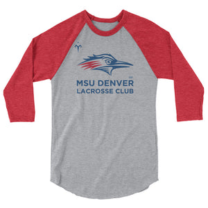 MSU Denver Lacrosse Club 3/4 sleeve raglan shirt
