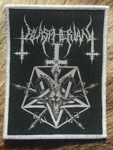 Blaspherian - Goat Head & Pentagram White Border Patch