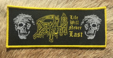 Death - Life Will Never Last Yellow Text & Border Patch