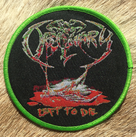 Obituary - Left to Die Green Border Circular Patch