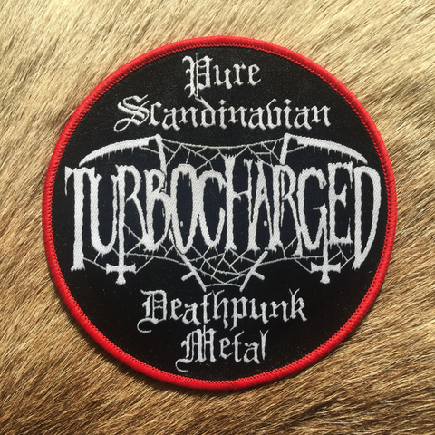 Turbocharged	- Pure Scandinavian DeathPunk Metal Red Border Circular Patch