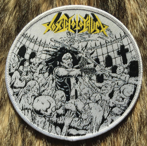 Toxic Holocaust - Evil Never Dies White Border Circular Patch