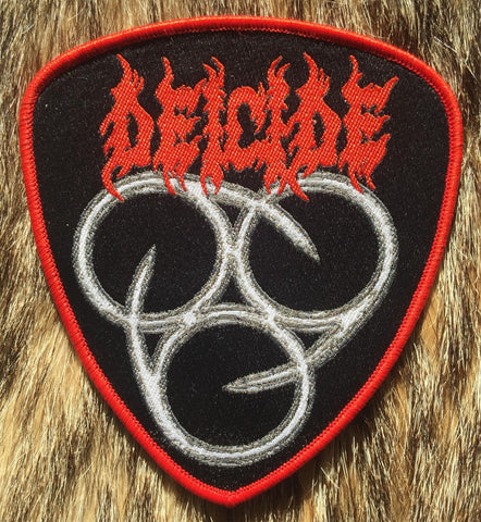 Deicide - 666 Red Border Plectrum Shaped Patch